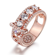 Fashion Jewelry 2019 New Rose/White Gold Color Luxury White Zircon Engagement Promise Ring Cubic Zirconia Rings for Women