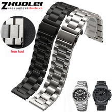 23mm 25mm brushed Stainless Steel Solid Link Watchband Strap Straight End Black Silver quick release spring bars Band Bracelet