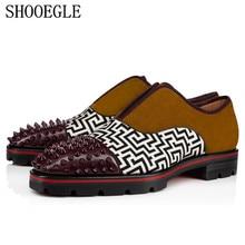 SHOOEGLE Осень Новые Для мужчин Лоскутная обувь с заклепками без шнуровки на противоскользящей Для мужчин Спайк оксфорды Винтаж кемпинг обувь Мужские модельные туфли