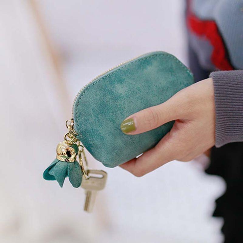 Модный женский мини-кошелек из искусственной кожи, держатель для карточки-ключа на молнии, кошелек для монет, цветочный кулон, клатч, маленькая сумочка - Цвет: Зеленый