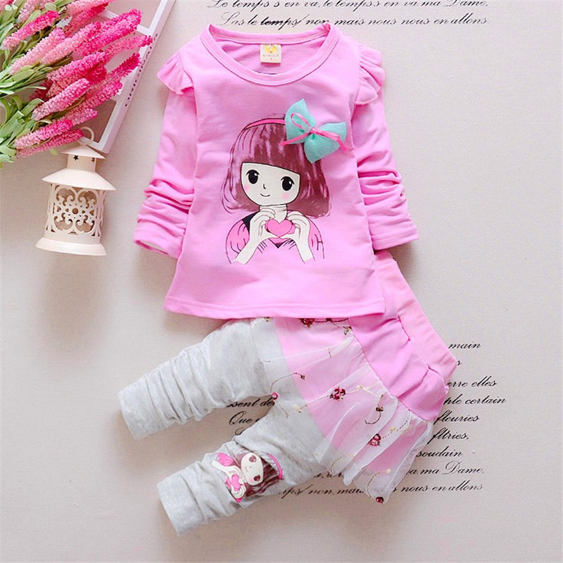 BibiCola Baby Girl Clothing Set Childern Girl Casual Leisure T-shirt+Lace Dress Pants Toddler 2pcs Suit Bebe Girl Cute Clothes bibicola baby boy clothing set bebe girl winter clothes infant 2pcs sport outfits children warm suit toddler tracksuit set