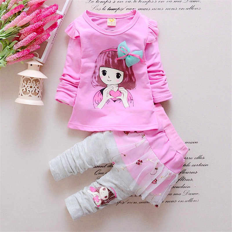 14da9600e6725 BibiCola Baby Girl Clothing Set Childern Girl Casual Leisure T-shirt+Lace  Dress Pants Toddler 2pcs Suit Bebe Girl Cute Clothes