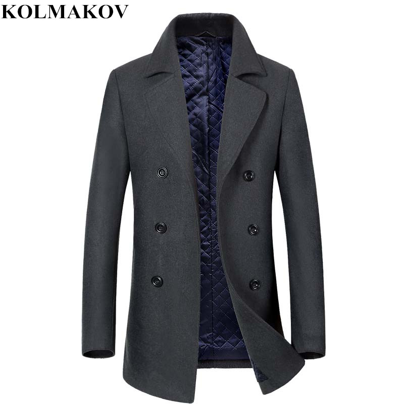 KOLMAKOV 2018 New Men's Woolen Coats Autumn Winter Classic Casual Overcoats Cotton Liner Mens Thick Black/Grey Outwear M-3XL(China)