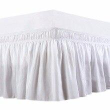 Эластичная Однотонная юбка для кровати с тремя тканевыми бортами, эластичная лента без кровати, легко надевается/легко снимается с пыли, с рюшами