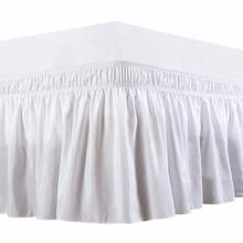 Trzy boki z tkaniny owijają elastyczną jednokolorowa do łóżka spódnicę gumkę bez łóżka łatwe zakładanie łatwe usuwanie kurzu potargane skrojone na miarę tanie tanio Gładkie barwione Hotel Domu 0 3-0 5kg 300tc Stałe 100 poliester