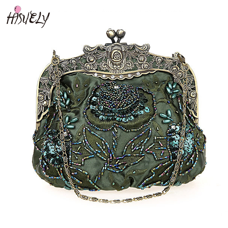 2019 New Vintage Beaded Evening Bag Embroidered Bag Diamond Sequined Clutch Hand Bag Bride Bag  Free Shipping