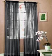 Envío gratuito negro hilo de vidrio investigación de la ventana cortinas de voile, bolsillo de la barra de procesamiento de estilo de tulle / cortina escarpada