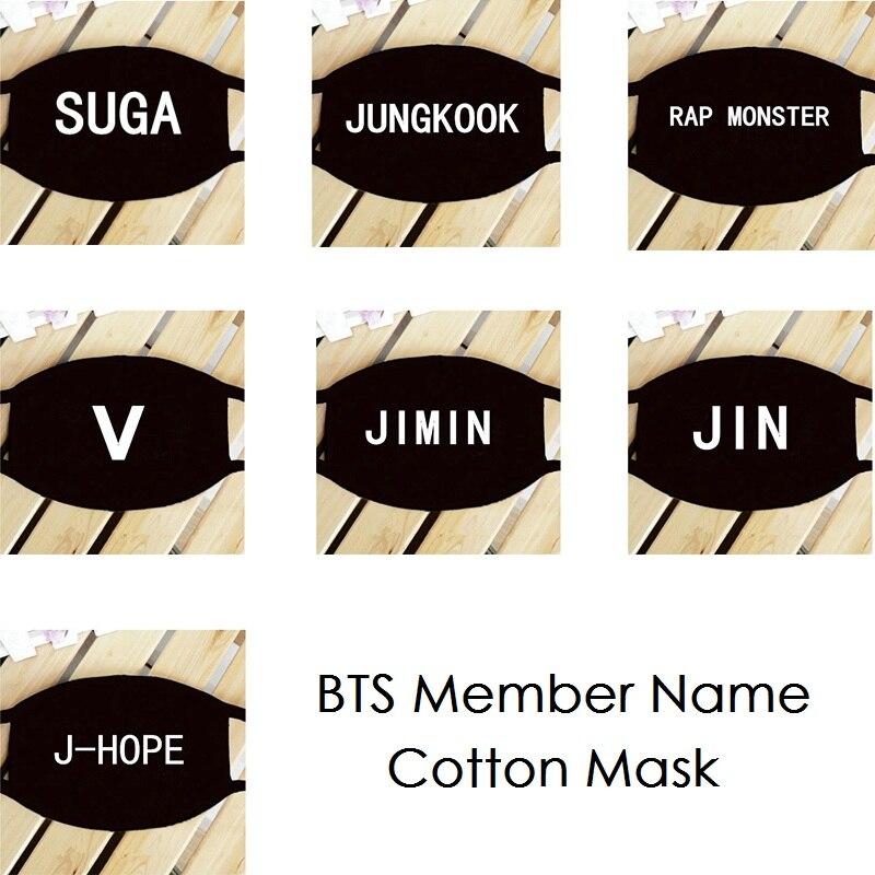 KPOP BTS Bangtan Boys Member Name K-POP Dust Cotton Mouth-muffle Face Mask Dammskydd Ma ...