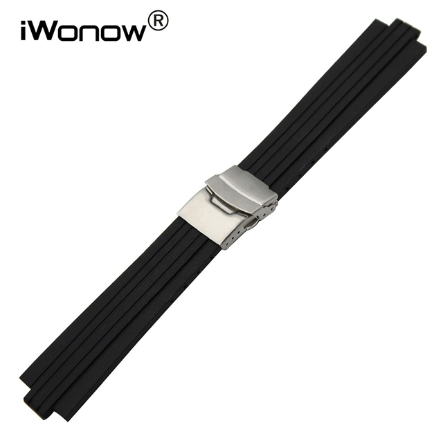 b82ced246f9 Convex Silicone Rubber Watchband 24 22mm mm x 8mm + Ferramenta para BVL  Relógio Banda de