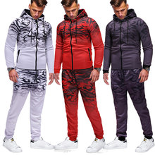 Sudadera deportiva Casual para hombre 3D Gradient Print Zip hip hop Suit moda leopardo jogger Cool ToP + pants 2 piezas Set(China)