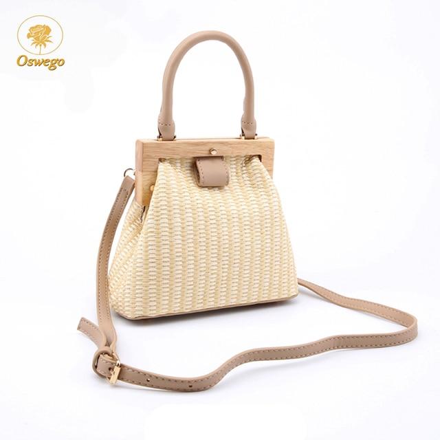 Oswego Straw Bag 2019 New Fashion Wooden Clip Women Shoulder Bag Summer Travel Beach Bag Luxury Handbags Women Bags Designer 2