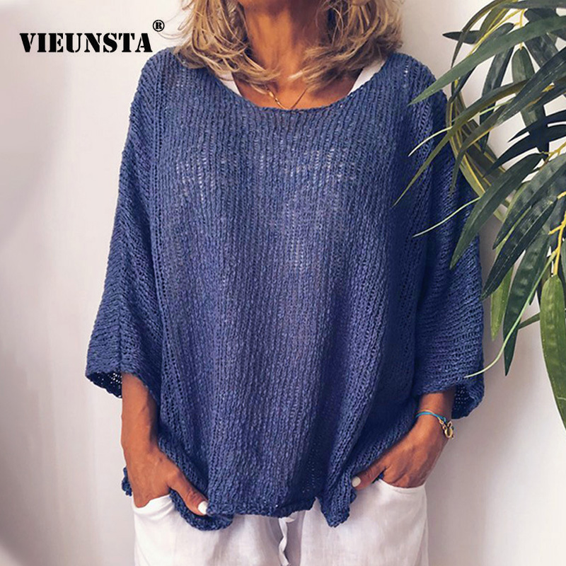 VIEUNSTA Autumn Plus Size Long Sleeve Knitted Blouses Women Shirts 2019 Loose O Neck Solid Casual Pullover Female Streetwear Top