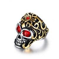 LINSOIR 2017 Punk Rock Biker Skull Rings For Men Fashion Jewelry Antique Stainless Steel Rhinestone Skeleton