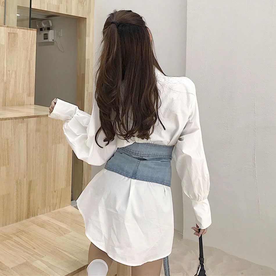 Женское белое платье-рубашка пояс из денима размер свободный регулируемый высокий уличный платье отложной воротник рукав «летучая мышь» 2019 Весна CX1238