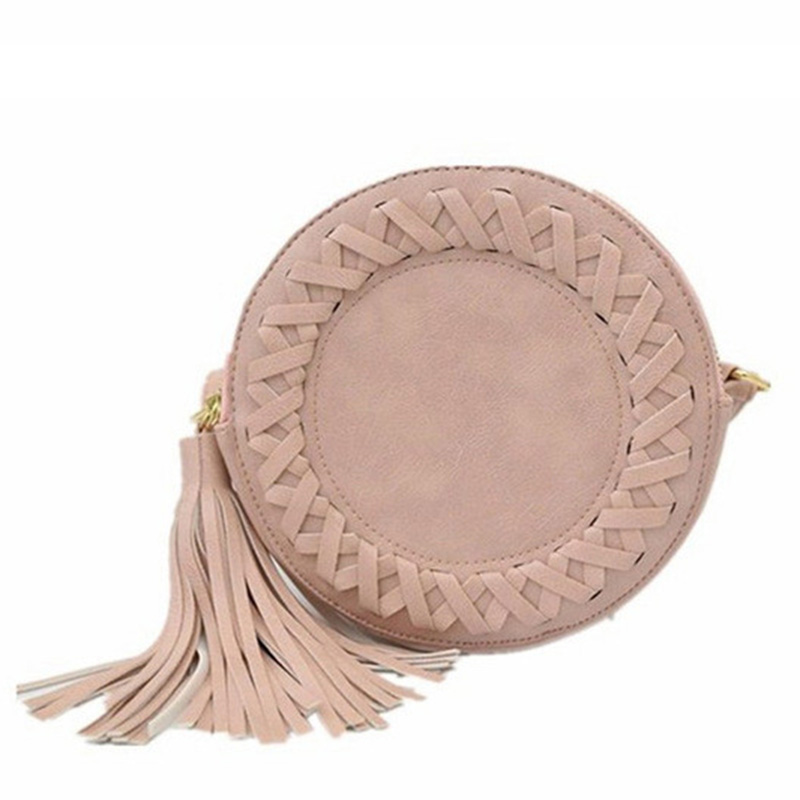 2017New fashion crossbody tassel bags for women tassel Round weave Messenger Bag Ladies Cute roll Shoulder Bag 5colors to choose