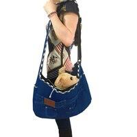 High Quality Pet Bag Carrier Jeans Denim Dog puppy Cat Bag Carrier Single Shoulder Bag Small Dog Travel Bag blue color supply