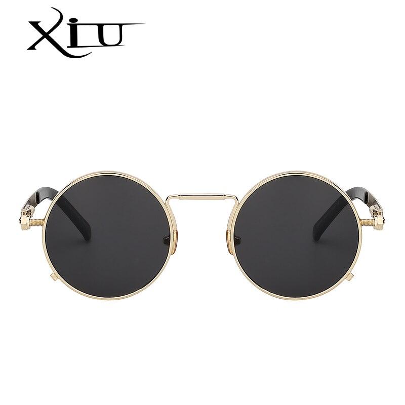 XIU Homens Steampunk Mulheres óculos de Sol De Metal Redondo Retro Óculos  De Sol Da Marca do Desenhador dos homens Do Vintage Óculos UV400 em Óculos  de sol ... 8f86e4cb5e