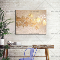 100% Hand Painted Abstract Gold Art with Gray Wall Picture Handmade Golden Canvas Oil Painting for Home Decor Christmas Gifts