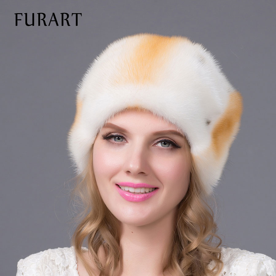 Genuine mink fur hats for women winter imported whole fur cap Russia new fashion female luxury hat good quality hot sale DHY-58