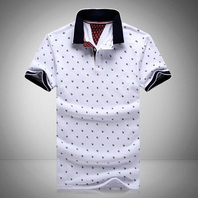 Новый бренд поло мужские печатных polo рубашки 100% хлопка с коротким рукава camisas polo случайный воротник стойка мужчины polo рубашка 4xl EDA234