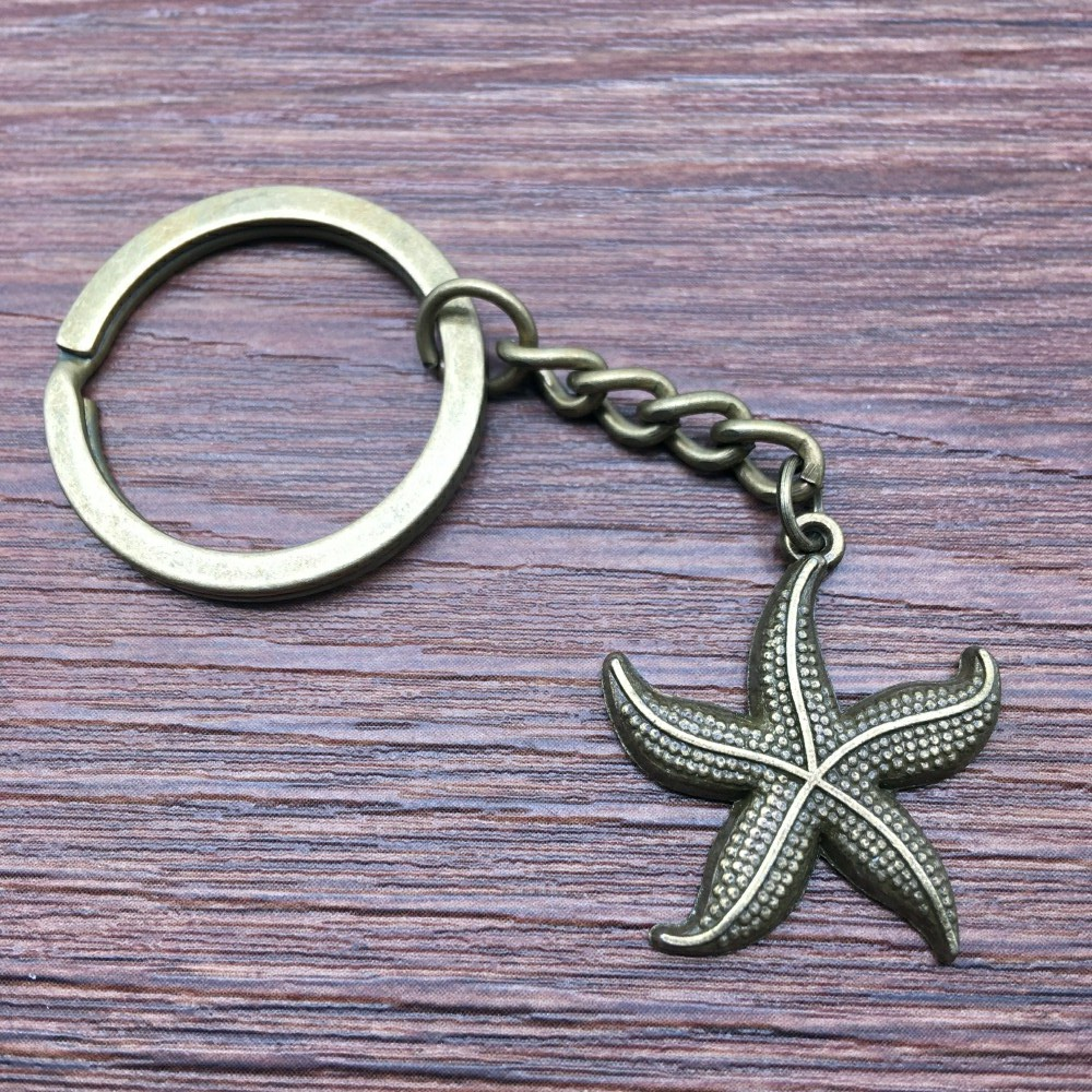 High Quality Car Key Chains Key Rings Starfish Keychain Bag Charm Keyring Vintage Handmade Phone Gifts Souvenirs For Friends in Key Chains from Jewelry Accessories