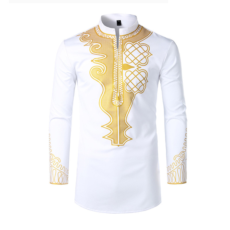 Mens Shirts Dress Embroidery Long-Sleeve West-Style Western-Cowboy Large-Size American