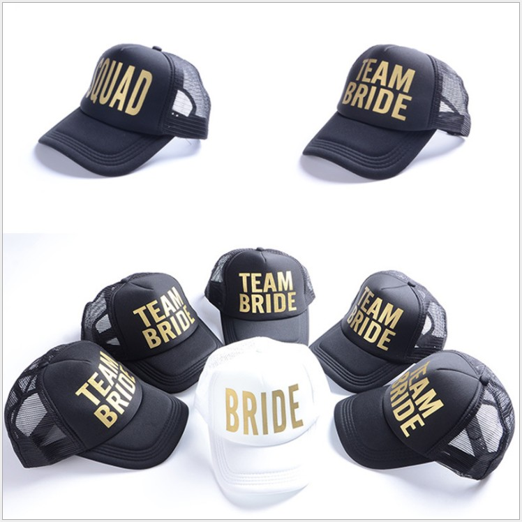 free shipping 5 pcs wedding favor bridesmaid gift hat team bride squad letter print Baseball cap