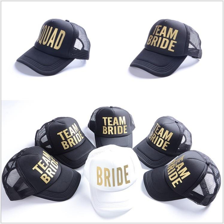 free shipping 5 pcs wedding favor bridesmaid gift hat team bride squad letter print Baseball cap