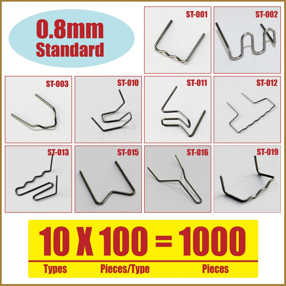 0.8mm Standard Plastic Welding repair hot staples Pack of 1000  ST08-10A 6 types assorted welding staples welding nails welding screws for plastic welding repairs packed by plastic box st 600