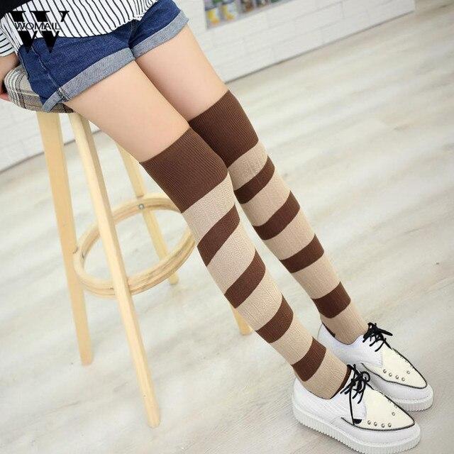 Mujeres invierno sobre la rodilla muslo alta medias rayas calientes ...