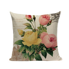 Cushion Flowers Watercolor Cushion Cover Vintage Bird  Pillow Cases High Quality Sofa Decorative Pillow Cases 45*45Cm