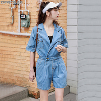Fashion Streetwear Denim Jumpsuit Women Elastic High Waist Rompers Shorts Jeans Feminino Summer Overalls Wide Leg Blue Playsuits