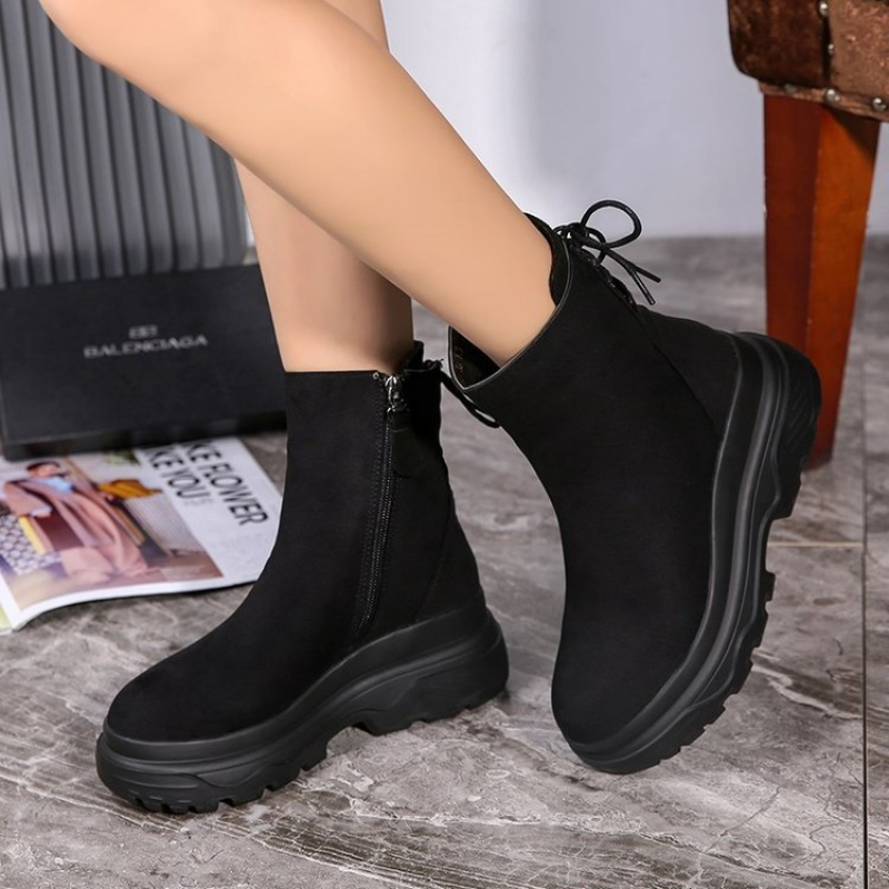 Image 5 - SWYIVY Ankle Boots Women 2019 Winter Black Boots Woman Casual Shoes Plush Platform Snow Boots Women Martin Shoes Female SneakersAnkle Boots   -