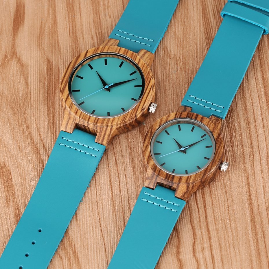 Fashion Blue Wooden Bamboo Quartz-watch Natural Wood Wristwatch Genuine Leather Creative Xmas Gift for Men Women Reloj de madera 2017 2018 (18)