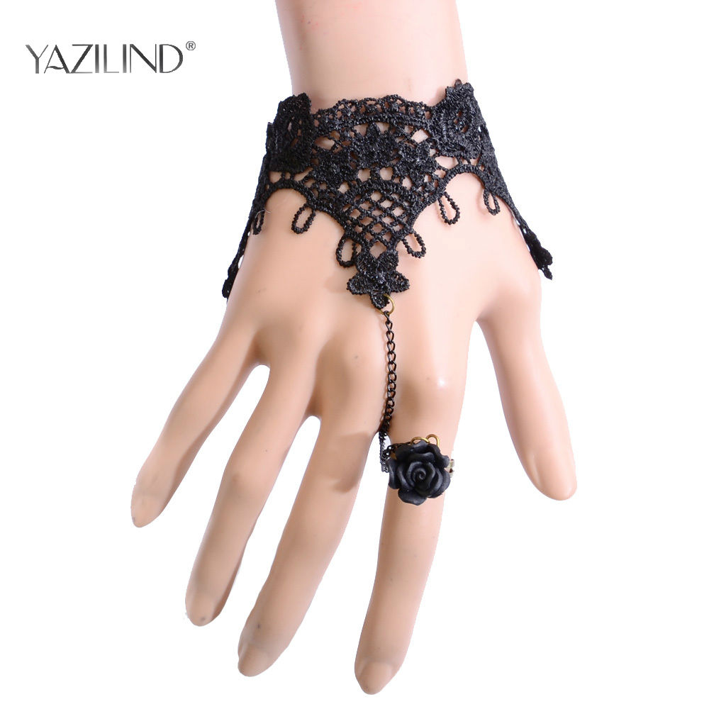 High Quality Black Lace Copper Crystal Inlay Bangle Crystal Chain Bracelet Ring SET Jewelry