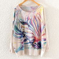 2014 Winter Vintage Fashion Women Batwing Sleeve Knitted Rainbow Zebra Print Sweater Coat Jumper Pullover Knitwear