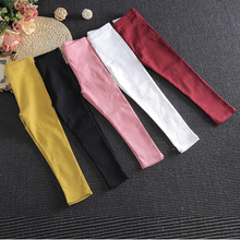 New Spring Girls Bottoming Pants Feet Pencil Pants Children Trousers H07165