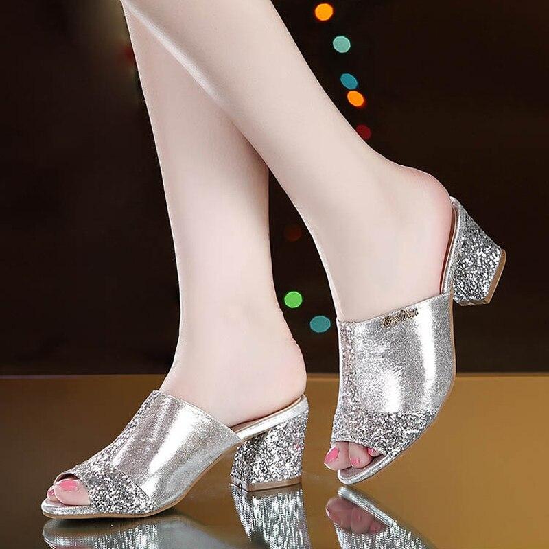 Bling fashion square heel