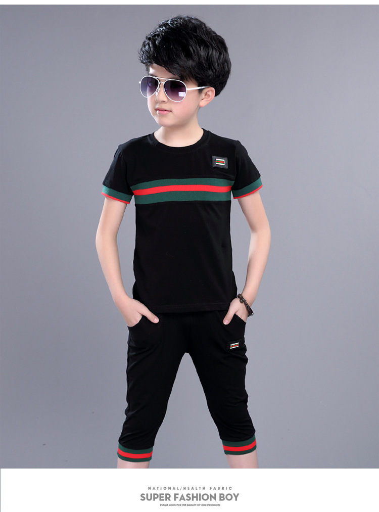Casual Active Boys Clothes Set Summer Girls Teenage T Shirt Shorts Children Suit 2019 Kids Outfits Sports Clothing For Boys 2Pcs (9)
