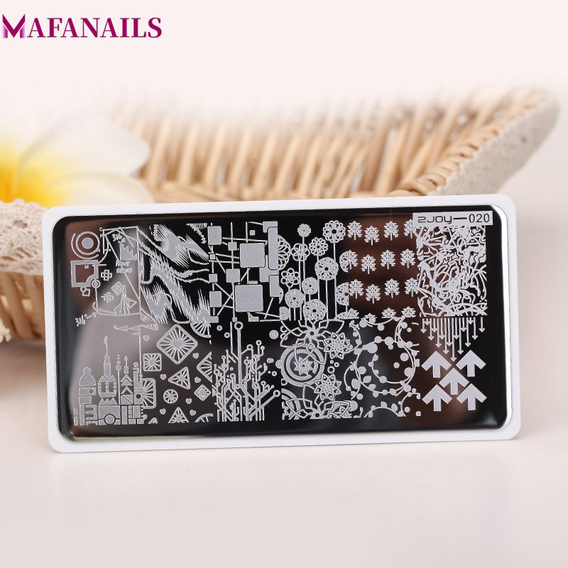 6.5*12.5cm Nail Stamping Plates 1pc Art Steel Plate Geometry Manicure Template Tools ZJOY 20