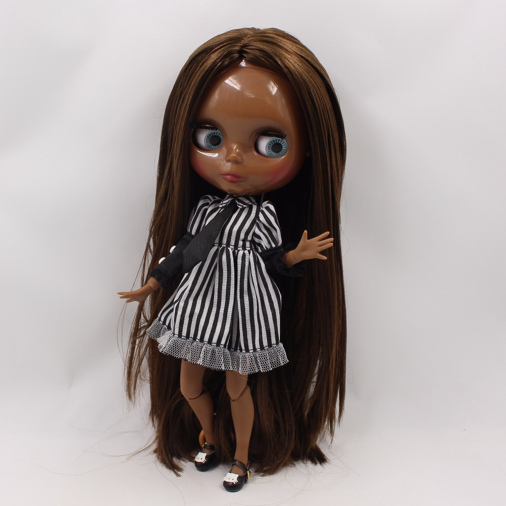 Neo Blythe Doll with Brown Hair, Black skin, Shiny Face & Jointed Body 3