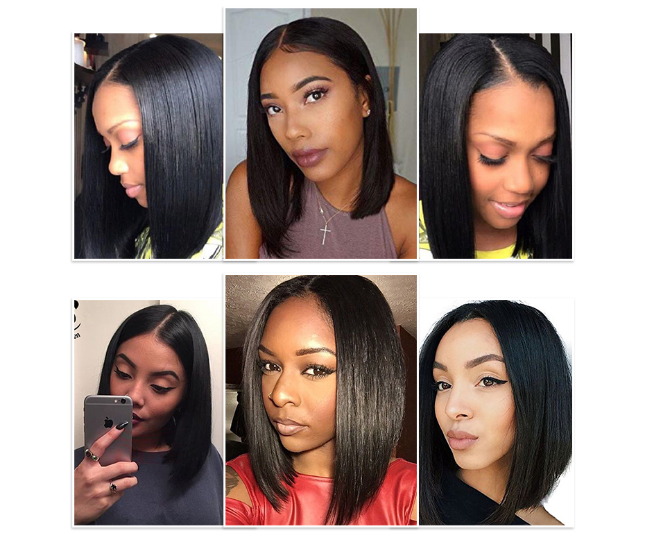 13x4 Short Lace Frontal Human Hair Bob Wigs XYHair Brazilian Remy Hair Straight Lace Front Wig for Women Pre Plucked Hairline