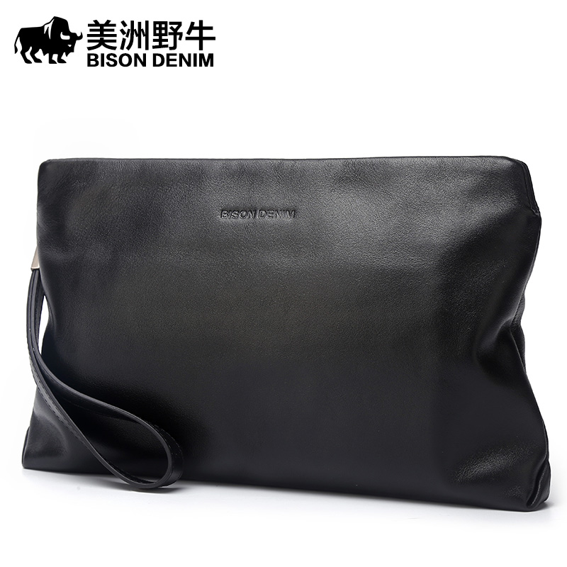 BISON DENIM Brand 2018 New Handbag Men Genuine Leather Business Large Capacity Clutch Bag Cowhide Purse Brand Men's Bag Wallet 2017 men clutch bag long section soft genuine leather deer pattern wallet men s handbag purse large capacity business clutch bag