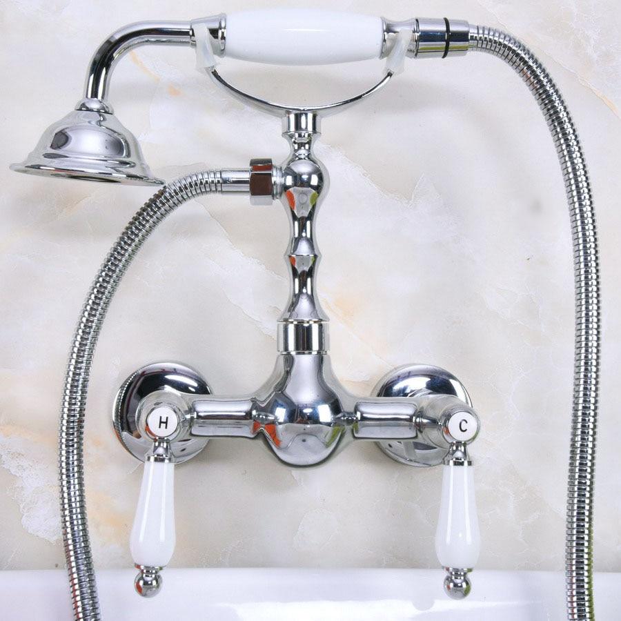 Modern Wall Mount Polished Chrome Brass Bathroom Clawfoot Hand Shower Faucet Mixer Tap Set Telephone Shape Hand Spray ana214