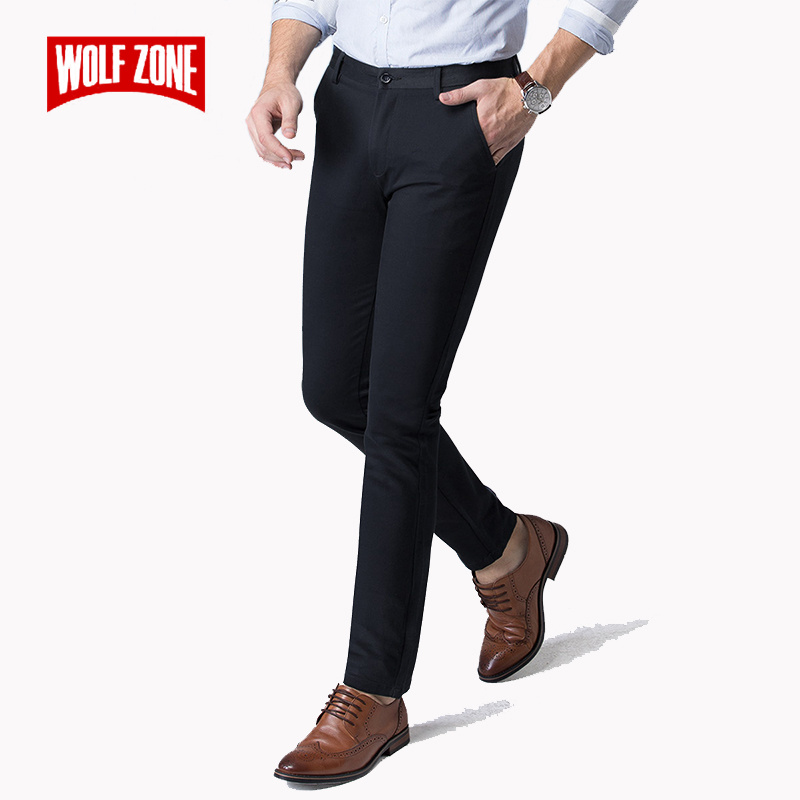 2018 Autumn Winter New Men's Stretch Casual Black Khaki Men Pants Business Fashion Solid Color Cotton Male Brand Trousers 28-40