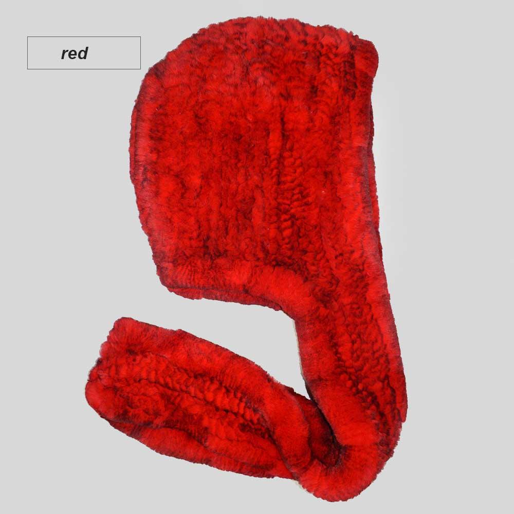 knit rex fur scarf red