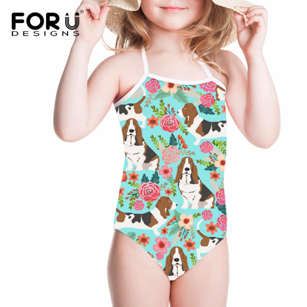 FORUDESIGNS Swimsuit for Girls One-piece Suits Basset Hound Printed Chidlren Swimwear On ...