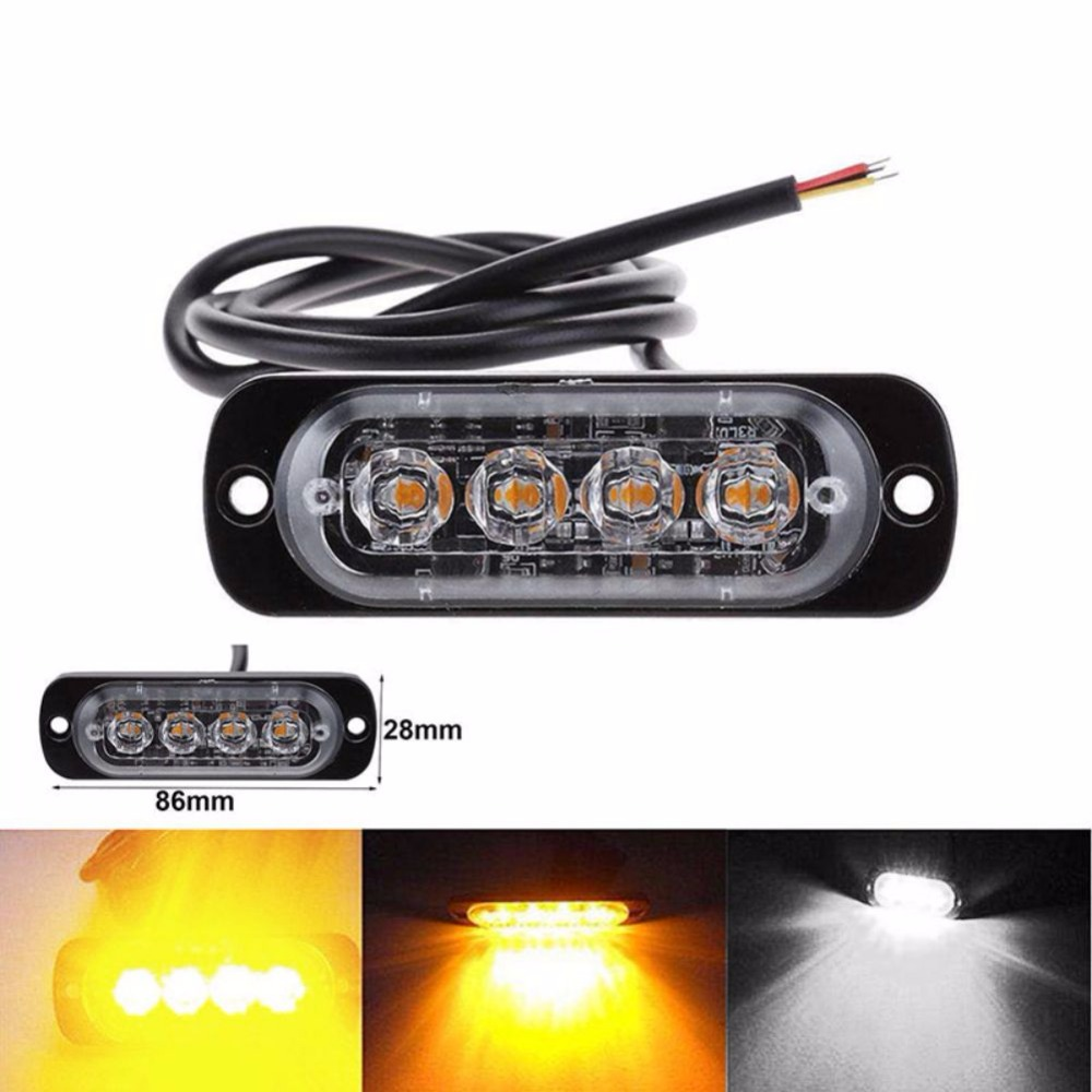 4 LED Strobe Warning Light Strobe Grill Flashing Breakdown Emergency Light Car Truck Beacon Lamp Amber Traffic Light amber 30 led emergency strobe flashing warning light 12v 24v yellow warn beacon lights signal lamp for school bus truck atv utv