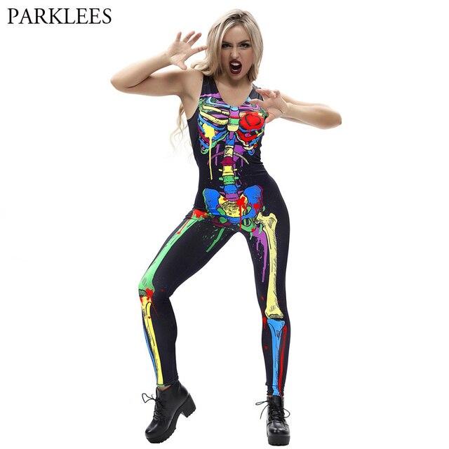 ad26e51f1c3 Sexy Nightclubs Sleeveless Jumpsuits Women 2018 Fashion Splash Ink Man  Skeleton Halloween Cosplay Costumes Bodysuit for