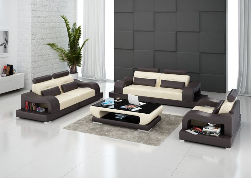 New Style Living Room Design Part - 34: New Design Modural Style Living Room Leather Sectional Sofa Furniture G8005D